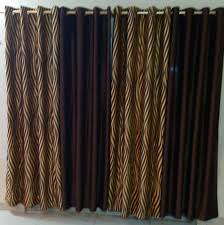 Brown Gold Curtains Set Of 4 Curtains Brown Gold Zebra Printed Lusaka Collections