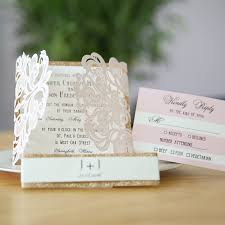 wedding invitations gold blush pink laser cut wedding invitation with gold