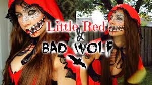 little red riding hood halloween costume toddler little red riding hood u0026 bad wolf makeup halloween 2015 youtube
