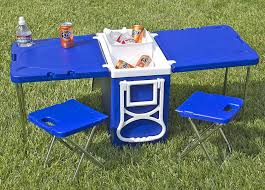 fold out picnic table cooler with fold out table and chairs mini picnic table cooler