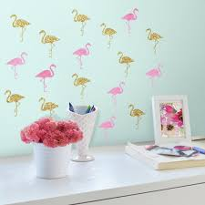 self adhesive flowers the home depot flamingo 40 piece peel and stick wall