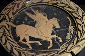 file attic plate with pegasus from greece 420 bc monsters