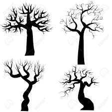 halloween window cutouts silhouettes of spooky halloween trees royalty free cliparts