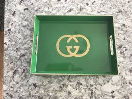 designer logo tray home decor green gold g logo