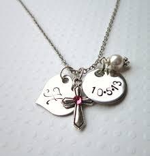 Children S Birthstone Necklace Baptism Gift Children U0027s Birthstone Cross Necklace U0027s Heart