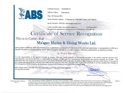 bureau of shipping abs certification m agan marine civil eng ltd