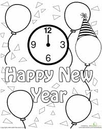 happy new year preschool coloring pages new year clock celebration coloring page worksheets holidays and