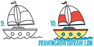 how to draw a cartoon sailboat from the letter
