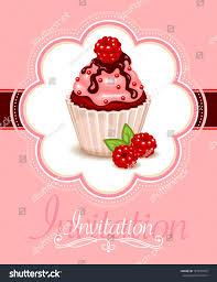 Cherry Cupcake Invitation Card Royalty Vector Frame Design Berry Cupcake Invitation Stock Vector