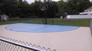 Backyard Basketball Hoops by Concrete Basketball Court In Maine