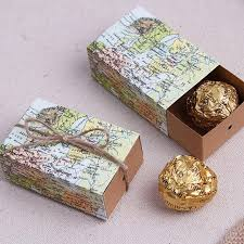 wedding gift map creative mini drawer shape pull candy box world map printing candy