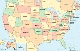 picture of united states map with states and capitals united states map color map with surrounding areas