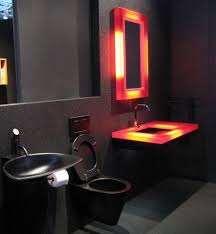 diagonal tile accent wall black and red bathroom for retro looks