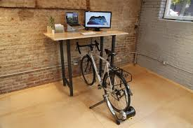 furniture accessories creative wooden desk double as bike stand