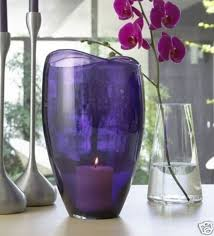 Large Hurricane Glass Vase Partylite Amethyst Purple Large Glass Hurricane Vase Candle Holder