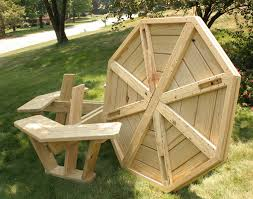 hexagon shape picnic table in the park clipart collection