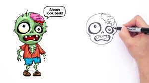 how to draw a zombie cute step by step animated halloween