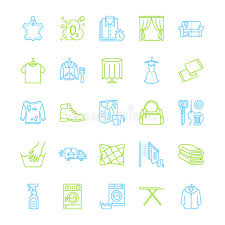laundry line design dry cleaning laundry line icons launderette service equipment