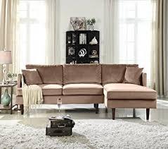 Modern L Sofa Mid Century Modern Brush Microfiber Sectional Sofa L
