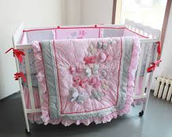 nursery beddings ivory crib skirt with pink and gold crib