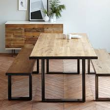 steel dining table set industrial oak steel dining table west elm