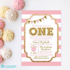 1st birthday invitation pink and gold invitation gold