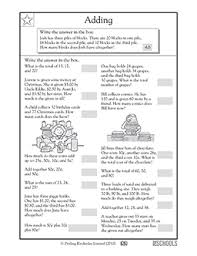 2nd grade 3rd grade math worksheets addition word problems 2
