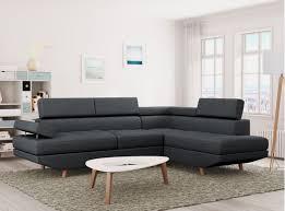 canap tissu gris anthracite canapé d angle style scandinave pieds bois avec revêtement tissu