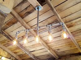 rustic industrial lighting chandelier galvanized pipe light