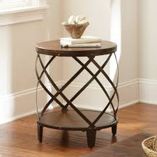 round wood and metal end table steve silver winston round distressed tobacco wood and metal end