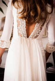 backless quarter sleeve lace jersey wedding gown boho chic dress