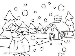 easy drawing of winter season how to draw a winter scene step step