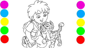 go diego go u0026 baby jaguar coloring pages with colored markers