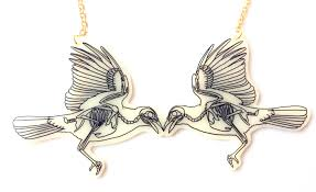 bird skeleton necklace halloween two magpies crow wings