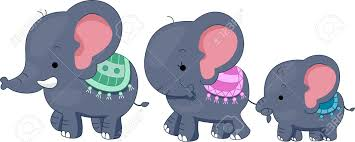illustration featuring a family of elephants stock photo picture