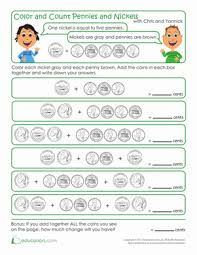 color and count nickels and pennies worksheet education com