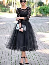 a line scoop 3 4 length sleeves lace tea length evening dress