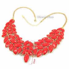 big statement gold necklace images Vintage gold red flower big baby acryl choker bib link statement