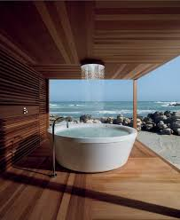outdoor bathroom ideas bathroom cute purple freestanding tub design ideas with shower