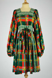 paisley ribbon 1970s vintage dress by jeff banks multi coloured check with