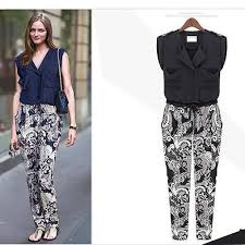 casual jumpsuit best floral cotton lapels stitching playsuit culottes