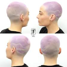 fades and shave hairstyle for women women s lavender fade and taper buzz cut with shave art detail short