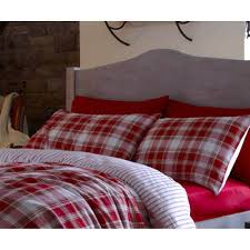 catherine lansfield tartan red striped brushed cotton fitted sheet