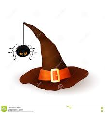 halloween white background cartoon halloween 3d witch hat with hanging hairy black spider on