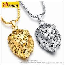 golden pendant necklace images Wholesale 2018 new hip hop necklaces reggae lion shape uzi golden jpg