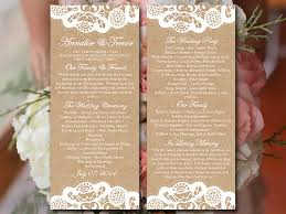 vintage wedding program template vintage lace wedding program template kraft