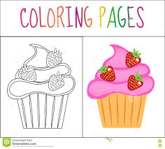cupcake colouring page stock image image 13548781