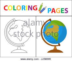 happy and cute kids with globe abstract drawing stock photo