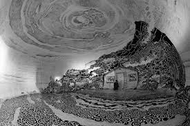 a 360 degree black and white drawing of a japanese landscape
