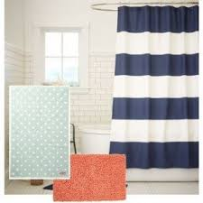 Coral And Navy Curtains Coral Shower Curtain Foter